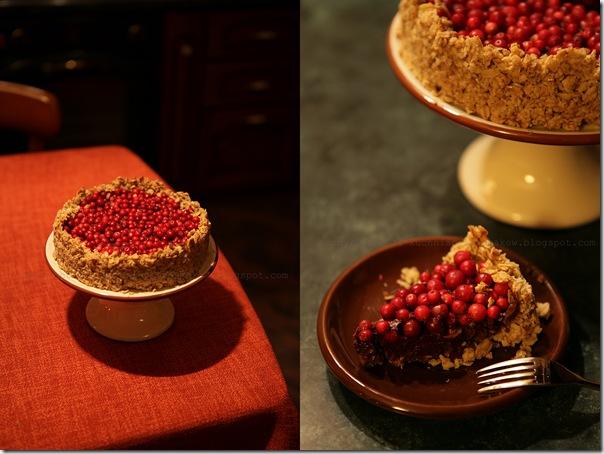 Ciasto z płatków wsianych z czekoladą i borówkami