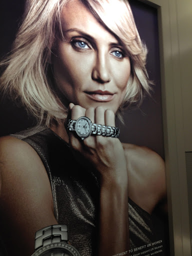Cameron Diaz is Tag Heuer's new woman's ambassador. Here, she holds the watch from the previous slide.
