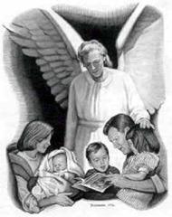 Cena bíblica 002 (anjo e família) [Clipart.eDigg.com]