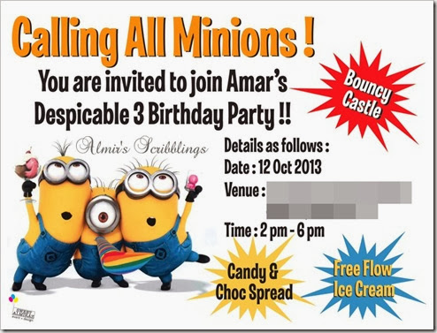 minion invitation card