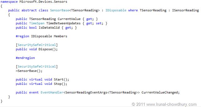 WP7.1 Demo - SensorBase Class
