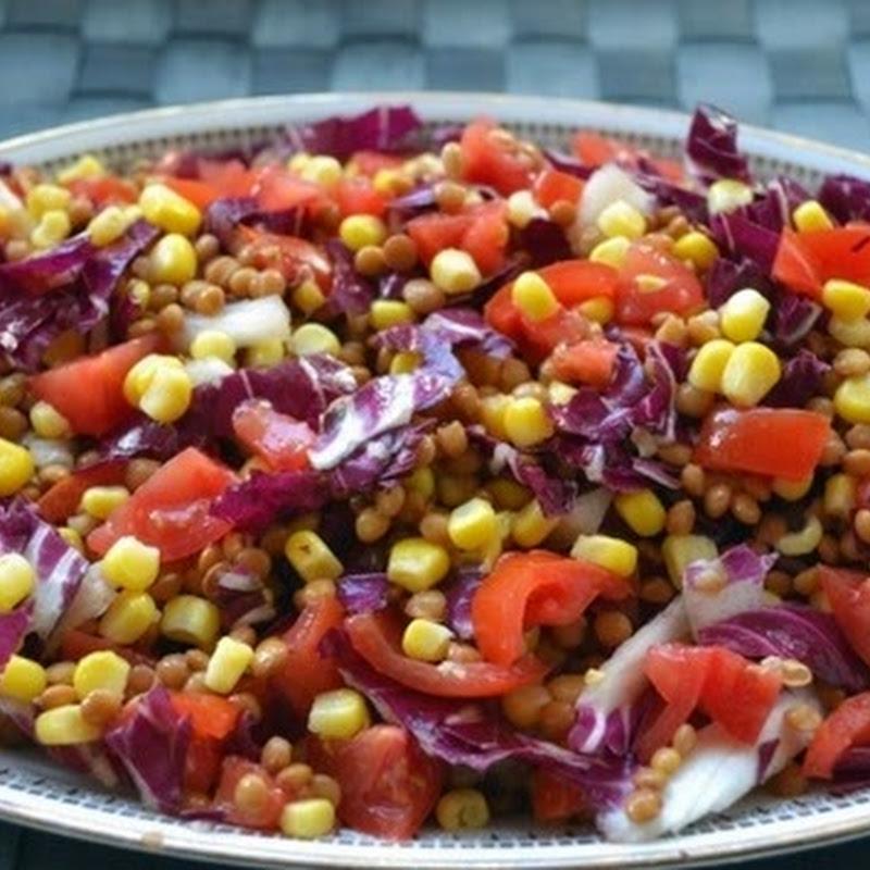 Σαλάτα φακής με λάχανο