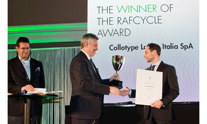collotype label awarded as the winner of the RafCycle Award