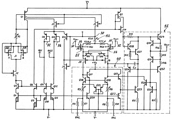 The AD549 electrometer IC op amp schematic (adapted from US Patent 4,639,683)