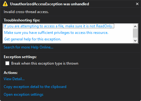 UnauthorizedAccessException