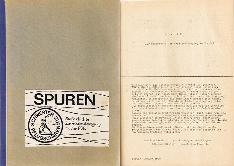 Schwerter zu Pflugscharen, Sammlung von Reden der Friedensbewegung der DDR von 1988