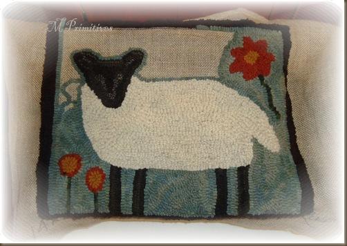 Sheep hooked rug 3