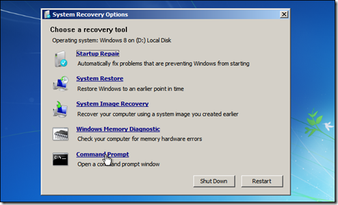 Windows 7 System Recovery Options