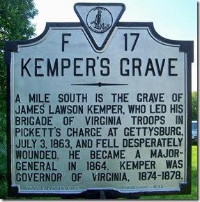 Kemper's Grave, marker F-17 in Orange County, VA