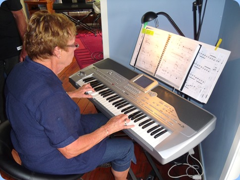 Our host, Yvonne, playing her Korg Pa1X for us
