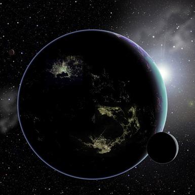 ilustração de um exoplaneta com luzes artificiais