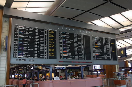 Departure board at Changi International Airport