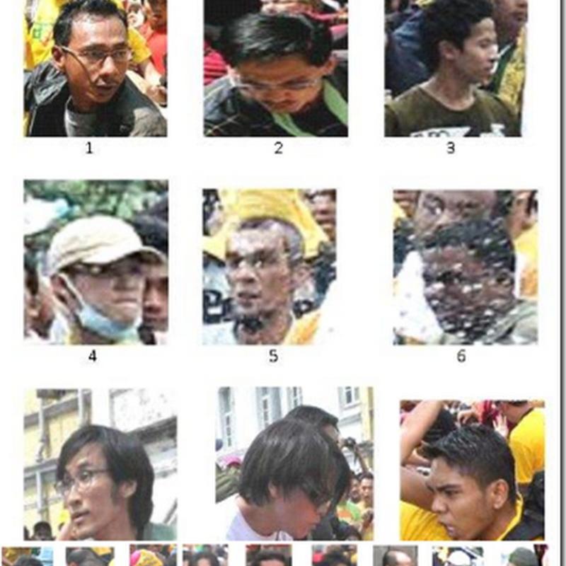 Gambar-gambar individu yang terlibat dalam perhimpunan BERSIH 3.0