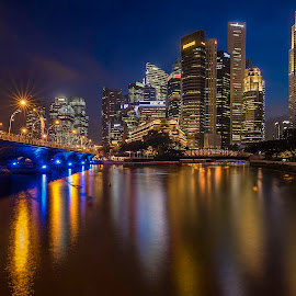 Evening blues by Senthil Damodaran - City,  Street & Park  Street Scenes ( hdr, sunset, street scene, blues, singapore river )