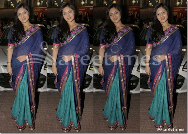 Nikesha_Patel_Half_and_Half_Saree