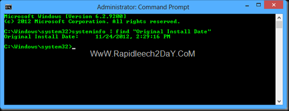 Command Prompt Determine Windows was Installed