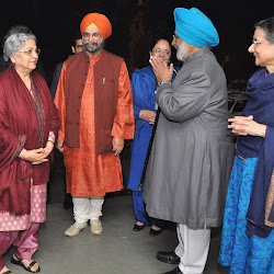 Bhayee Sikandar Singh and Mrs Paramjit Kaur (right) greet Mrs Gursharan Singh