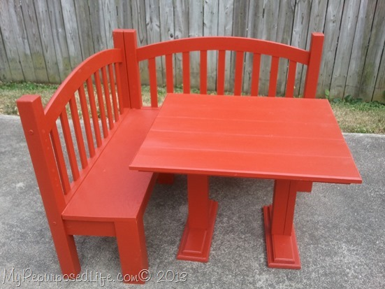 kid's red bench