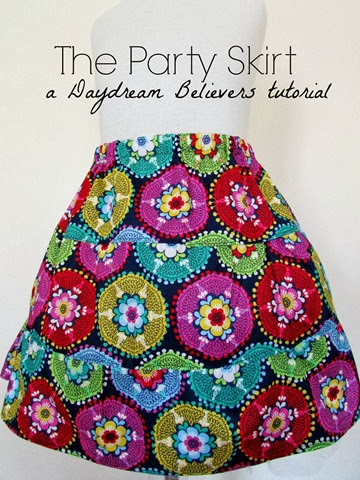 FREE Pattern and Tutorial from Daydream Believers: The Party Skirt a three tier gathered twirl skirt www.daydreambelieversdesigns.com