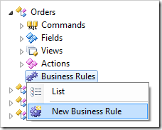 New Business Rule context menu option in the Project Explorer.