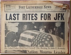 Kennedy_newspaper headline_25 Nov 1963_FortLauderdaleNews