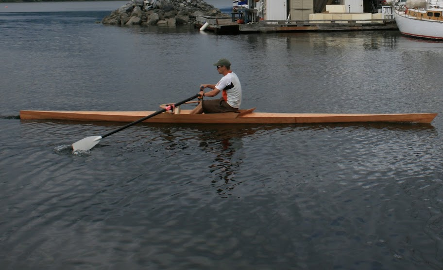 Colin rowing Cambridge Racer in Comox marina