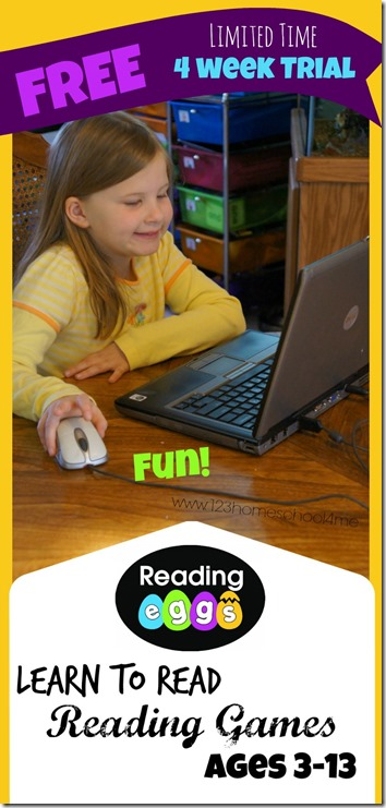 Reading Eggs for kids 3-13 has lots of reading games to help kids learn to read in 4 weeks