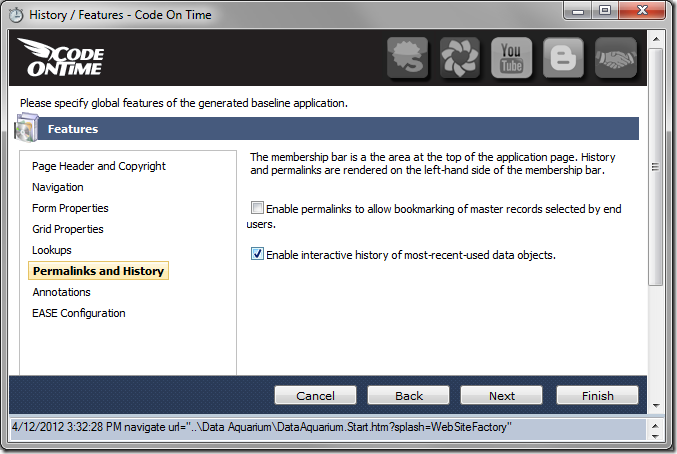 'Enable interactive history of most-recent-used data objects' option under 'Permalinks and History' of Code On Time Project Wizard
