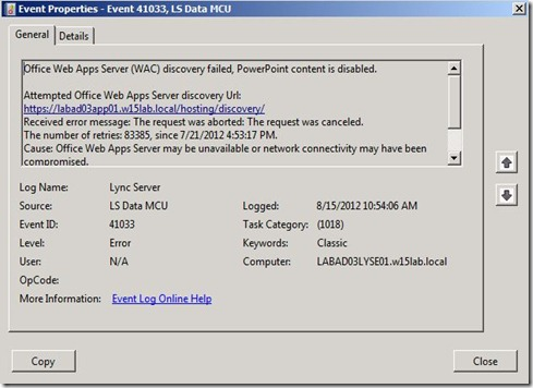 Lync 2013 - OWA - event - fail