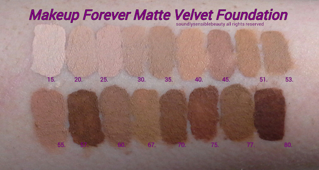 Makeup Forever (M.U.F.E) Mat/Matte Velvet Foundation; Review & Swatches of Shades 15 Alabaster, 20 Ivory, 25 Warm Ivory, 30 Porcelain, 35 Vanilla, 40 Natural Beige,  45 Soft Beige, 51 Golden Caramel, 53 Golden Pecan, 55 Neutral Beige, 57 Pecan,  60 Honey Beige, 67 Warm Amber, 70 Caramel, 75 Coffee, 77 Warm Chestnut, 80 Cognac