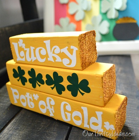 Our Thrifty Ideas | St Patrick's Day Mini Stacker with Sugar Coating Glitter on the ends