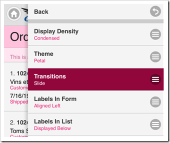 Changing the default Transition of the Code On Time web app.