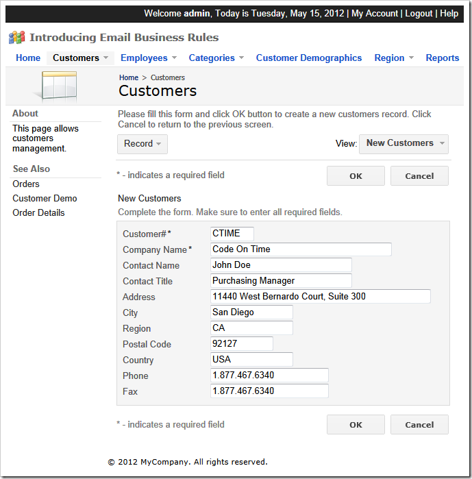 Adding a new customer record in Northwind sample created with Code On Time web application generator for ASP.NET, Windows Azure, DotNetNuke, and Microsoft SharePoint