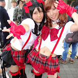 girls in red at Comiket 84 - Tokyo Big Sight in Japan in Tokyo, Tokyo, Japan