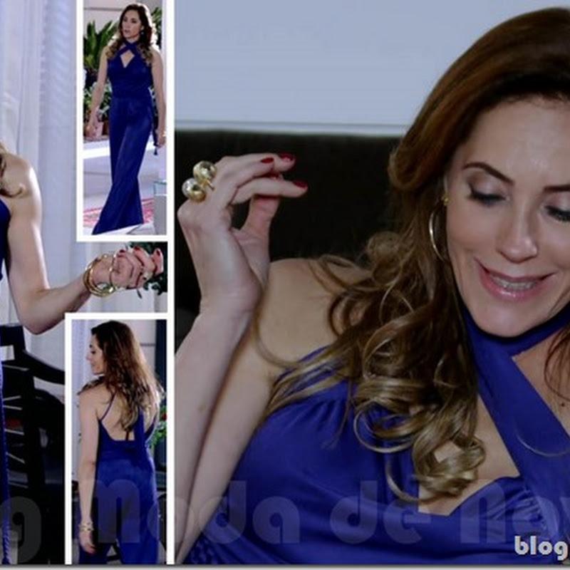 Look inesquecível do dia 15 de março: macacão azul da Tereza Cristina na novela Fina Estampa (2012)