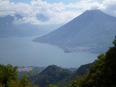 Lago Atitlan and San Pedro nestled on the shore.