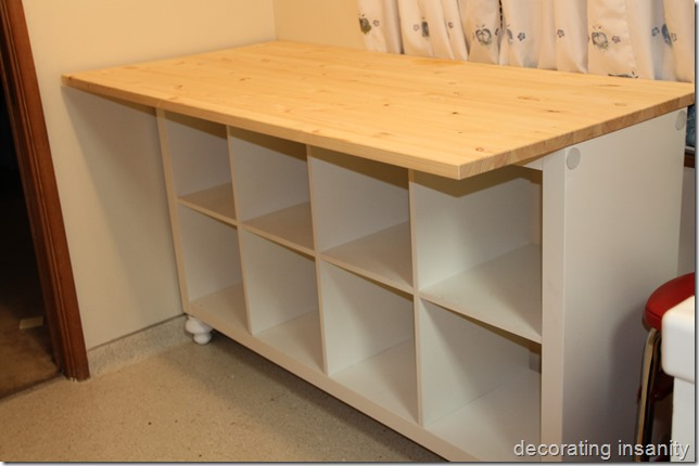 Ikea Kitchen Island Tutorial ~ Decorating Insanity IKEA Expedit Turned Kitchen Island (Tutorial)