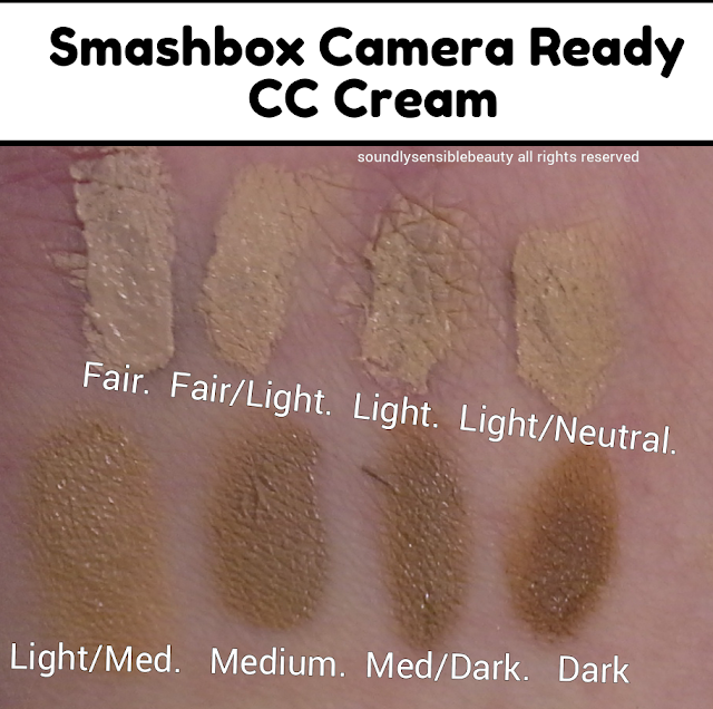 Smashbox Camera Ready CC Cream; Review & Swatches of Shades Fair, Fair/Light, Light Neutral, Light, Light/Medium, Medium, Medium Dark, Dark