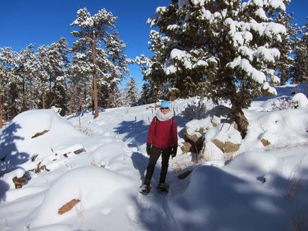 Lisa snowshoeing