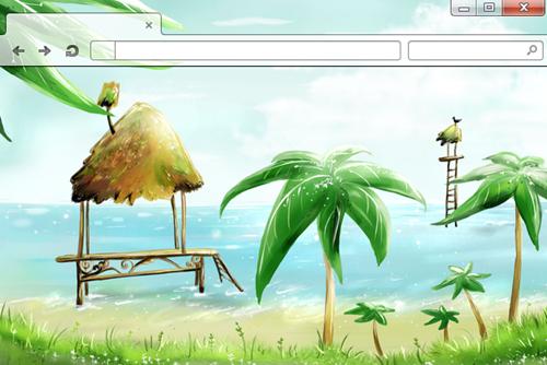 Hut and Palms