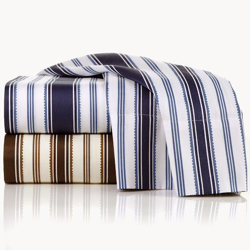 Alexa Hampton Home Stripe Sheet Set Available in Neutral and Navy HSN Price: $69.95