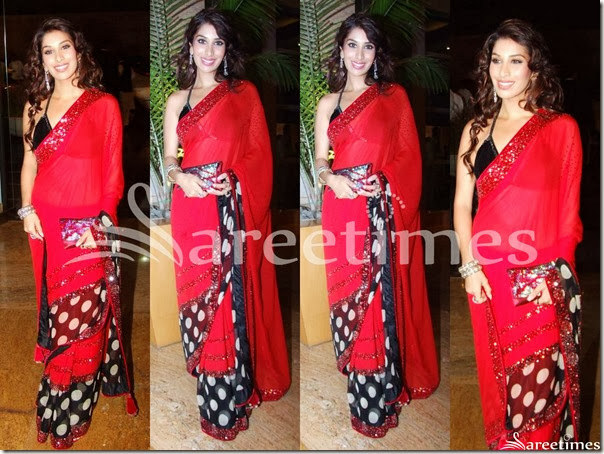Sophie_Chaudhary_Red_Saree