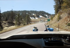 At 8600 feet snow is still visible on the shady side of the roads!