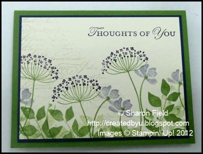 summer silhouettes and loving thoughts stamp set in green and purple shades