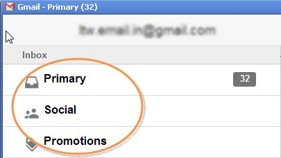 Gmail tabs in offline app