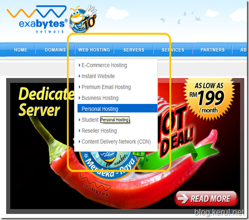 pilih menu hosting persendirian
