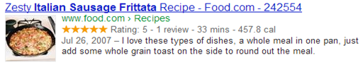 Google search recipe listing
