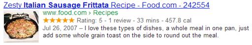 Google search recipe listing