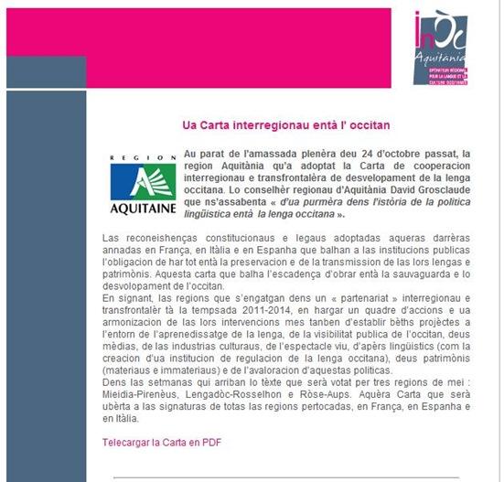 carta inter-regionau per l'occitan