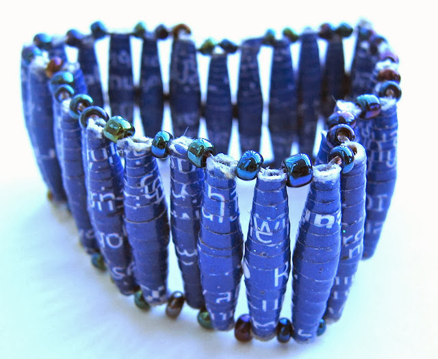 Band Paper Bead Bracelet.Uganda Fair Trade